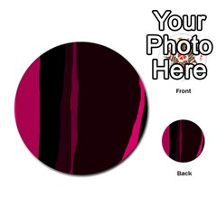 Pink and black lines Multi-purpose Cards (Round)