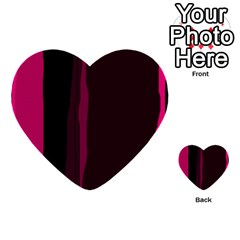 Pink and black lines Multi-purpose Cards (Heart)