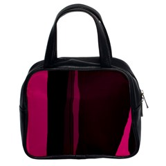 Pink and black lines Classic Handbags (2 Sides)