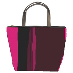 Pink and black lines Bucket Bags