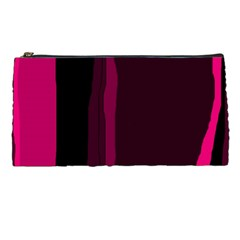 Pink and black lines Pencil Cases