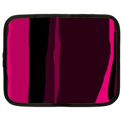 Pink And Black Lines Netbook Case (xxl)