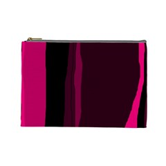 Pink and black lines Cosmetic Bag (Large)