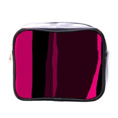 Pink and black lines Mini Toiletries Bags