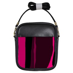 Pink and black lines Girls Sling Bags