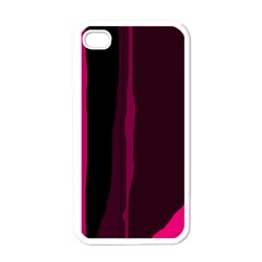 Pink and black lines Apple iPhone 4 Case (White)