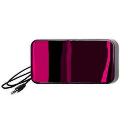 Pink and black lines Portable Speaker (Black)