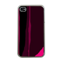 Pink and black lines Apple iPhone 4 Case (Clear)