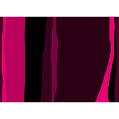 Pink and black lines Birthday Cake 3D Greeting Card (7x5)