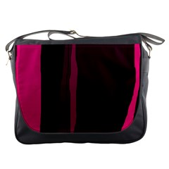 Pink and black lines Messenger Bags