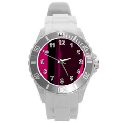 Pink and black lines Round Plastic Sport Watch (L)
