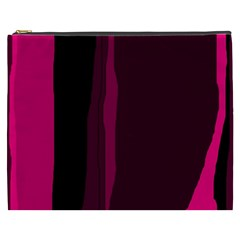 Pink and black lines Cosmetic Bag (XXXL)