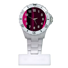 Pink and black lines Plastic Nurses Watch