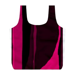 Pink and black lines Full Print Recycle Bags (L)