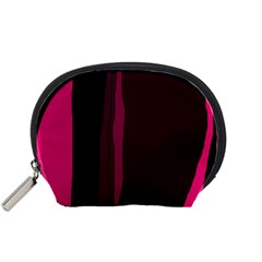 Pink and black lines Accessory Pouches (Small)