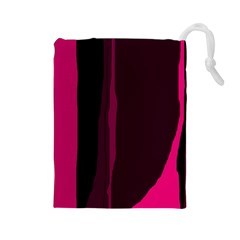 Pink and black lines Drawstring Pouches (Large)