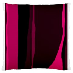 Pink and black lines Standard Flano Cushion Case (One Side)
