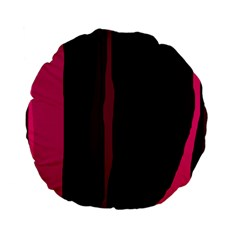 Pink and black lines Standard 15  Premium Flano Round Cushions