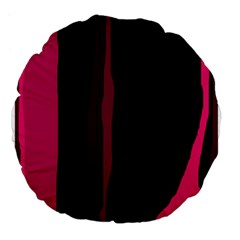 Pink and black lines Large 18  Premium Flano Round Cushions