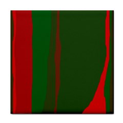 Green and red lines Tile Coasters
