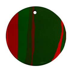 Green and red lines Ornament (Round)