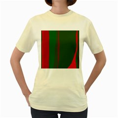 Green and red lines Women s Yellow T-Shirt