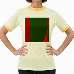 Green and red lines Women s Fitted Ringer T-Shirts