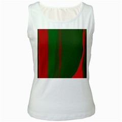 Green and red lines Women s White Tank Top