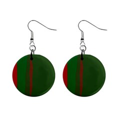 Green and red lines Mini Button Earrings