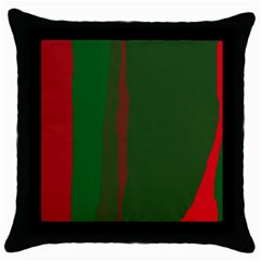 Green and red lines Throw Pillow Case (Black)
