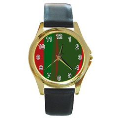 Green and red lines Round Gold Metal Watch