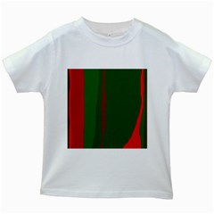 Green and red lines Kids White T-Shirts
