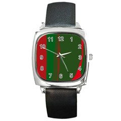 Green and red lines Square Metal Watch