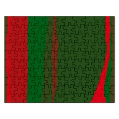 Green and red lines Rectangular Jigsaw Puzzl