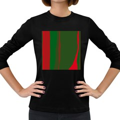 Green and red lines Women s Long Sleeve Dark T-Shirts