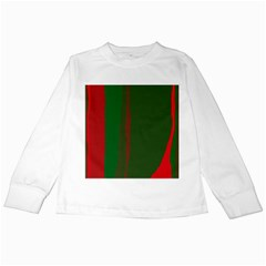 Green and red lines Kids Long Sleeve T-Shirts