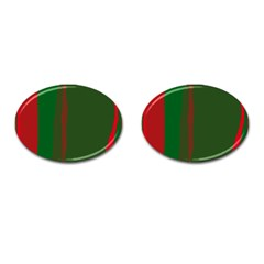 Green and red lines Cufflinks (Oval)