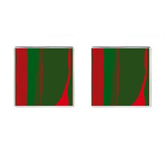 Green and red lines Cufflinks (Square)
