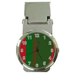Green and red lines Money Clip Watches