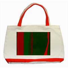 Green and red lines Classic Tote Bag (Red)