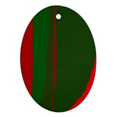 Green and red lines Oval Ornament (Two Sides)