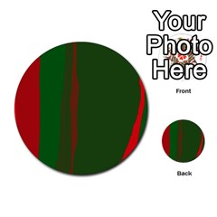 Green and red lines Multi-purpose Cards (Round)