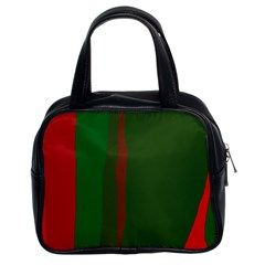 Green and red lines Classic Handbags (2 Sides)