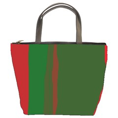 Green and red lines Bucket Bags