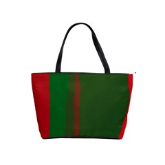 Green and red lines Shoulder Handbags