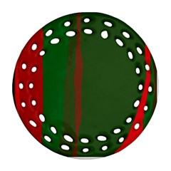 Green and red lines Round Filigree Ornament (2Side)