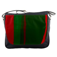 Green and red lines Messenger Bags