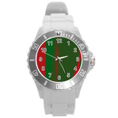 Green and red lines Round Plastic Sport Watch (L)