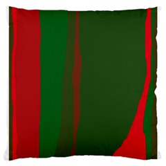 Green and red lines Large Cushion Case (One Side)