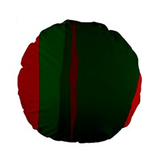 Green and red lines Standard 15  Premium Round Cushions